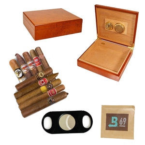 COMBO ELITE (Humidor for 25, 10 Elite Cigars, Cutter and a Boveda Cigars)