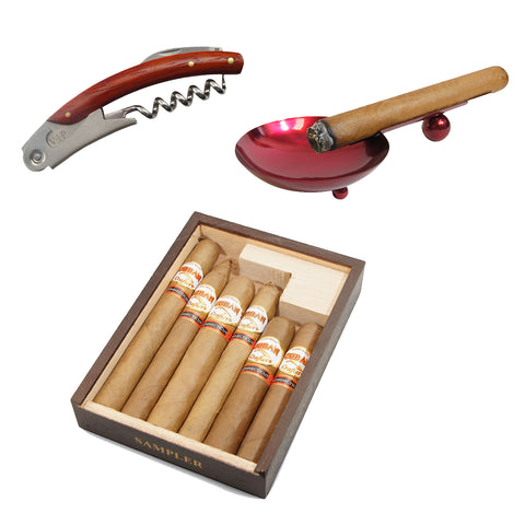 Image of (Stainless Steel Wine Corkscrew, Red Ashtray, 6 Cabinet Selection Cigar Sampler) - Cigar boulevard