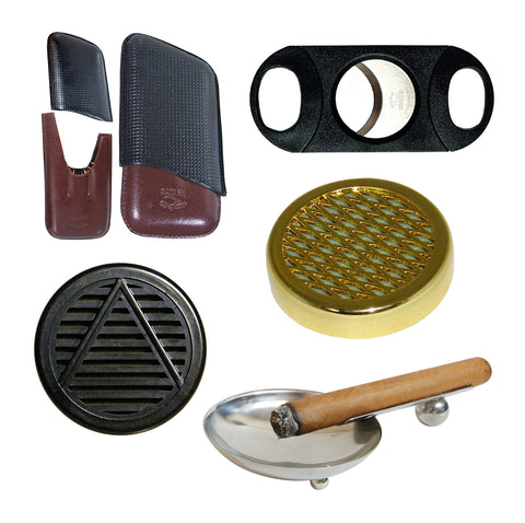 Image of (Cigar Leather Case, Torch, Ashtray, Black Cutter, 2 Cigar Humidifier) - Cigar boulevard
