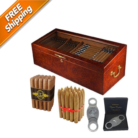 COMBO SUPER 150 (4 Bin Display Humidor for 150 Cigars, 2 Cigar Bundles & Perfect Cutter)