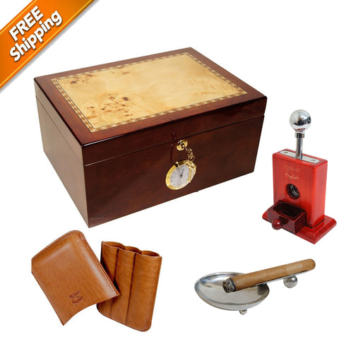 COMBO CULTURA for 100 Cigars Humidor, Cigar Leather Case, Table Top Cigar Cutter, Ashtray