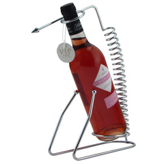Chrome Wine Rack with Spiral Design for 1 Bottle - Cigar boulevard