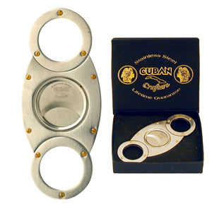 Custom Cigar Cutters Cuban Crafters Stainless Steel Double Blades O Round Handles - Cigar boulevard