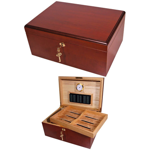 Best Humidors Cuban Crafters Clasico Rojo Cherrywood Classic Cigar Humidor for 100 Cigars