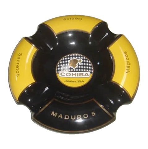 NEW Ashtray COHIBA BLACK MADURO Porcelain with Four Wide Grooves