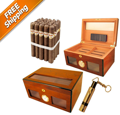Large Cigar Humidor for 120, Combo Bravo Cigars and Pen Punch Cutter
