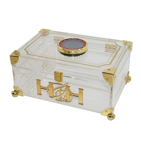 Image of The Acrylic Humidor with Digital Hygrometer and Cedar Balls 50 Cigars Capacity