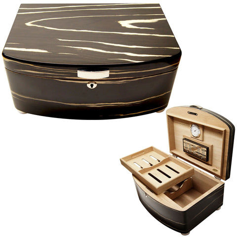 Image of Cuban Crafters Exclusivo Black Cigar Humidors for 100 Cigars - Cigar boulevard
