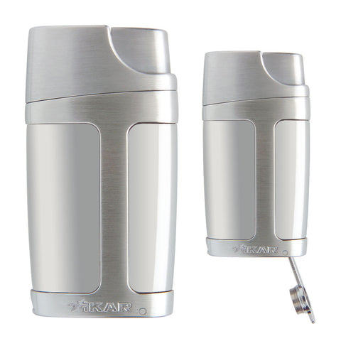 Xikar Element Lighter Chrome Silver Double Flame - Cigar boulevard