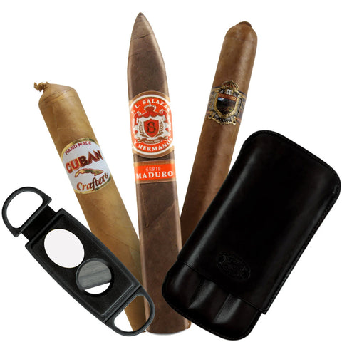 (3 Cigars Boutique Premiun, Cigar Case Leather, Cutter) - Cigar boulevard