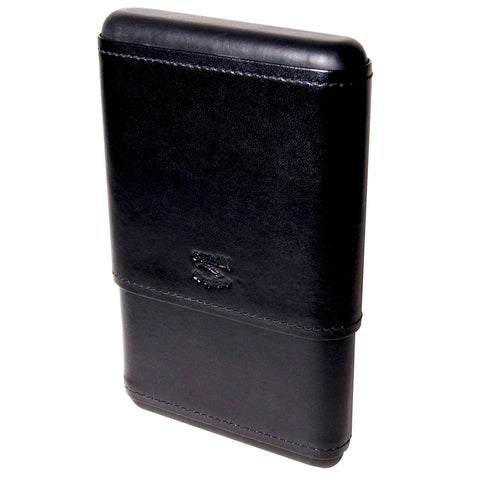 Capriano Hard Top Cigar Case for 5 Cigars Black Leather - Cigar boulevard