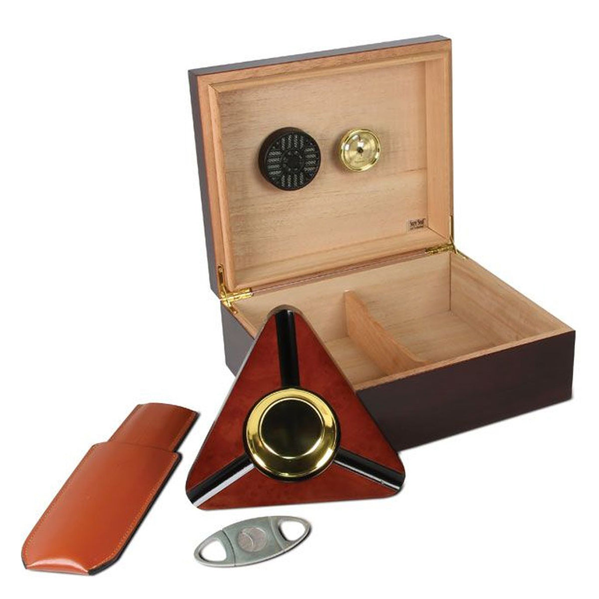 Humidor, Ashtray, Case and Cutter Starter Combo