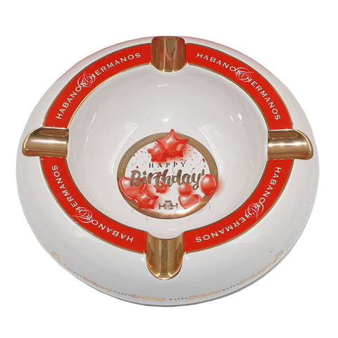 NEW Ashtray HAPPY BIRTHDAY White Porcelain with Four Wide Golden Grooves