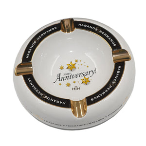 Ashtray HAPPY ANNIVERSARY White Porcelain and Golden with Four Wide Grooves