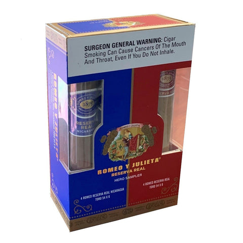 Image of Romeo y Julieta RESERVA REAL HERO SAMPLER Box of 8 cigars
