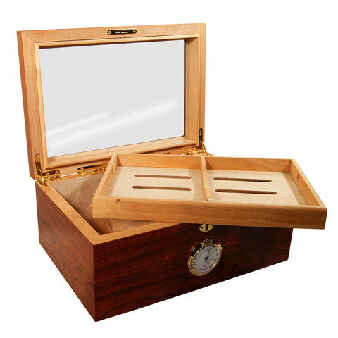 Image of Display Humidors Presidente Dos Glass Top Humidor Rosewood for 100 Cigars - Cigar boulevard
