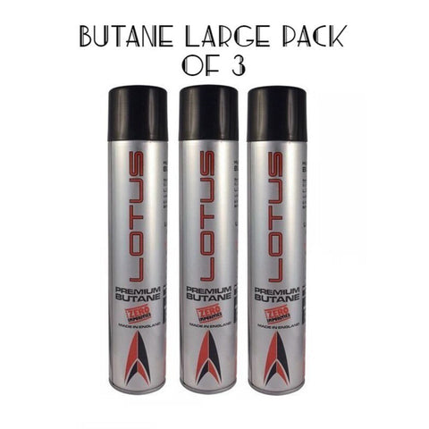 Pack of 3 Lotus LARGE Butane Refill for Lighters Ultra 6X with Universal Adapters