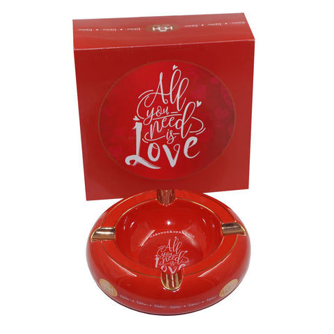 Image of Ashtrays ALL YOU NEED IS LOVE Red Porcelain with Golden Grooves