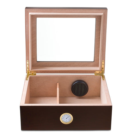 "Image of ""LE ISLE"" Glasstop Mahogany Humidor for 40 Cigars"