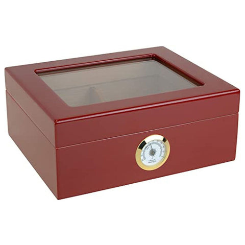 """LE ISLE ROUGE"" Glasstop Red Highgloss Humidor for 40 Cigars"