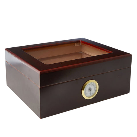 Image of Combo GLASSTOPMIO 40 Cigar Glass Top Humidor, Cuban Crafters Perfect Cutter and Humsol
