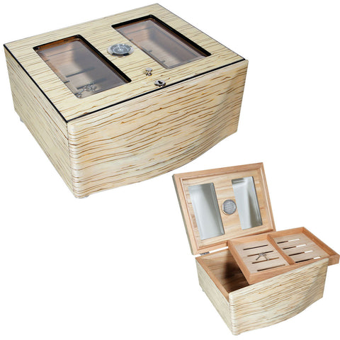 Designer Humidor Moderno Blanco Grande White Ice Humidors for 120 Cigars - Cigar boulevard