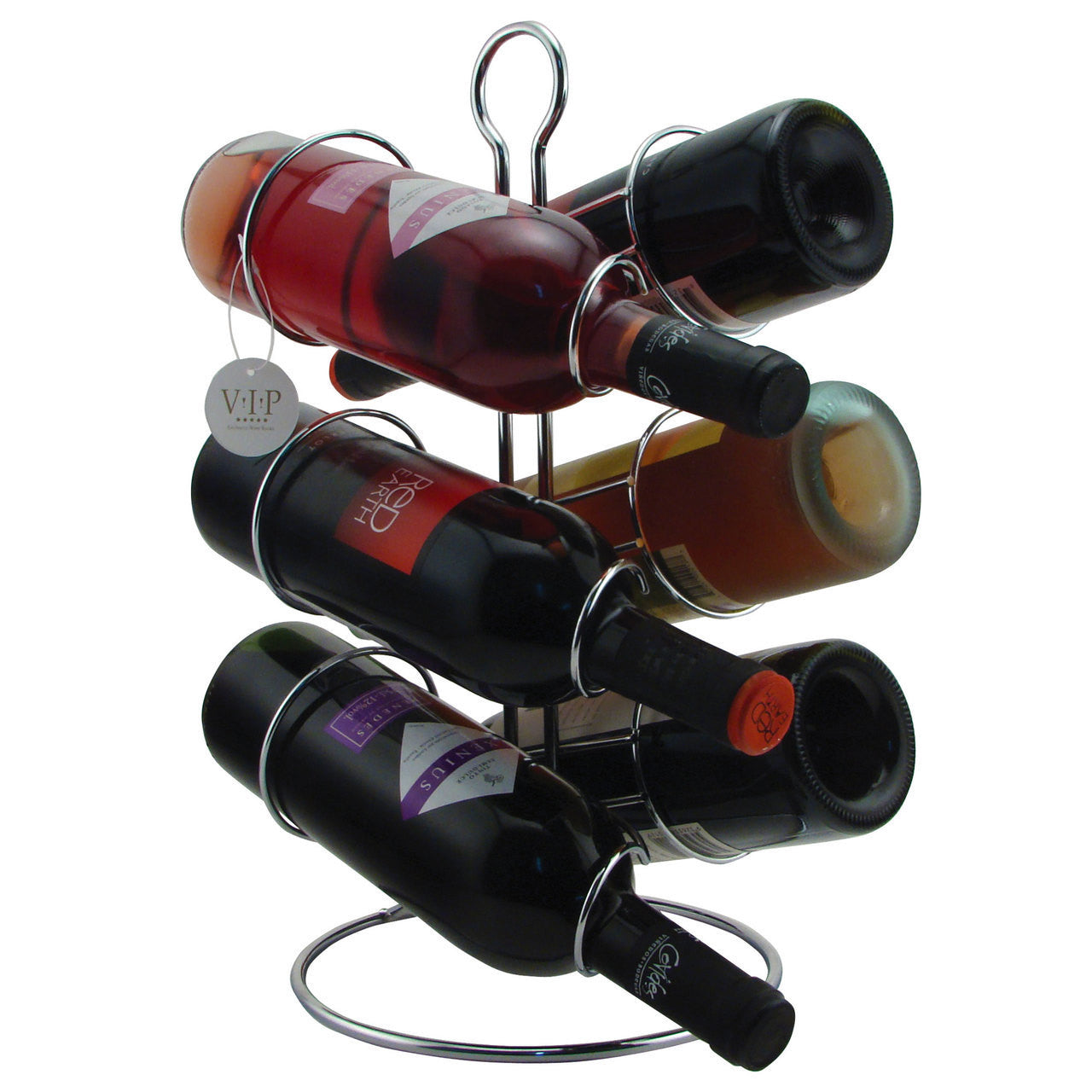 Metal Wine Rack Chrome Wire for 6 Bottles - Cigar boulevard