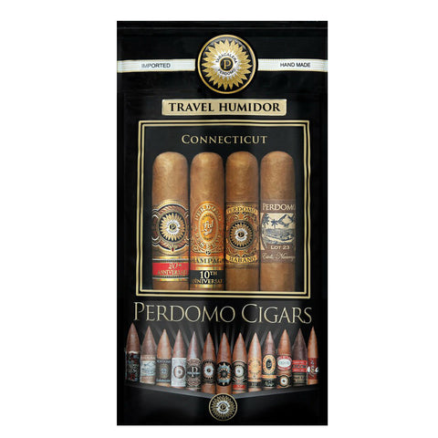 Perdomo Assortment Connecticut  EPICURE 6 X 54 Pack of 4 (Humi-Bag)