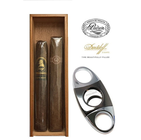 PREMIUM SELECTION 2 By Padron 7000, Davidoff + Gun Metal Cutter in a Cedar Box with Top Acrylic
