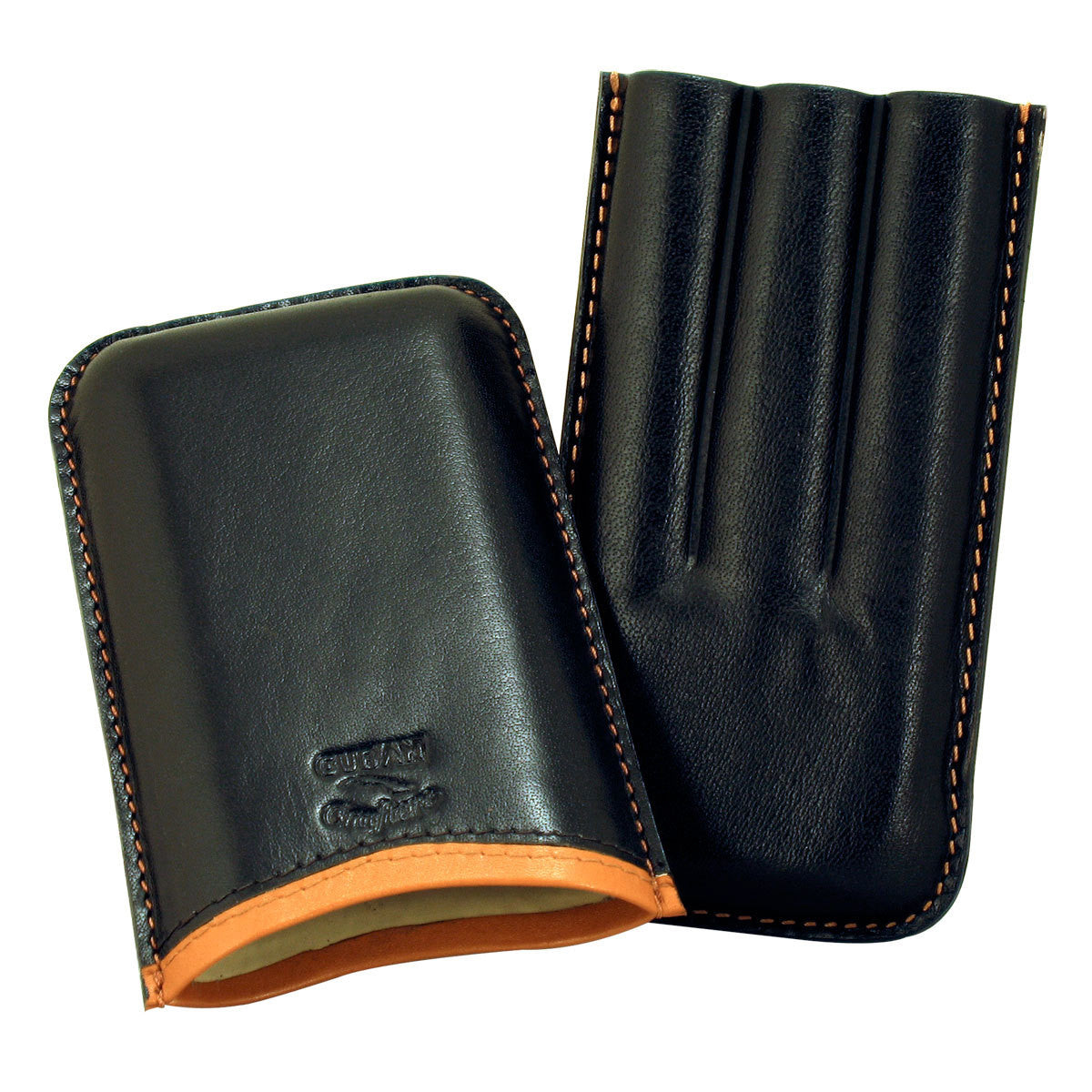 Cigar Case Leather Roma Black Saddle 3 Cigars - Cigar boulevard