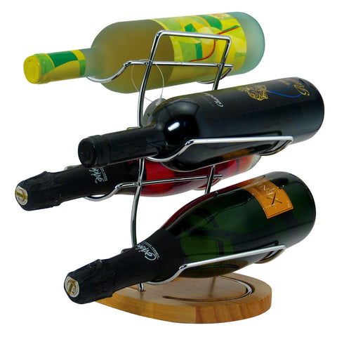 Image of Table Wine Rack for 4 Bottles Wood Base and Chrome - Cigar boulevard
