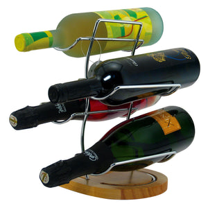Table Wine Rack for 4 Bottles Wood Base and Chrome - Cigar boulevard