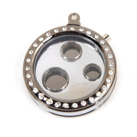 Cigar Cutters Cuban Crafters 3 Size Round Cigar Punch in Silver With Diamond Frame - Cigar boulevard