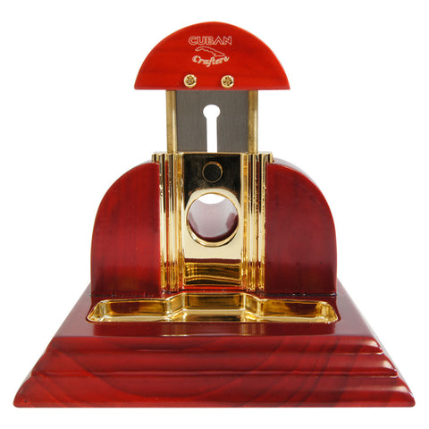 Image of TableTop Cigar Cutter Red Mesa Fina Rojo Cherry Wood Gold - Cigar boulevard