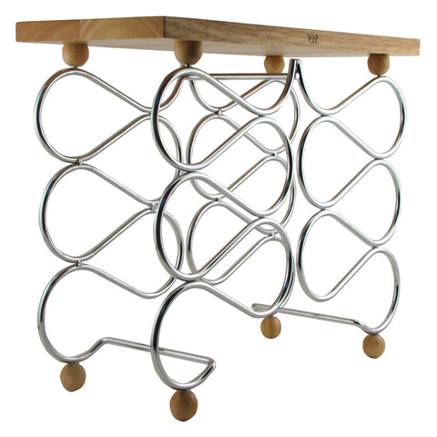 Wine Rack Table Wood and Chrome Holds 10 Bottles