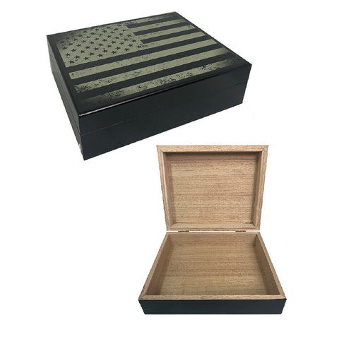 NEW Cigar Humidor USA Flag Black Print for 20 Cigars
