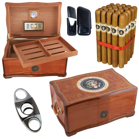 COMBO WHITE HOUSE (Humidor For 120, Gift Set Combo Presidente - Free Shipping)