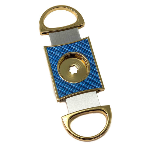 Cigar Boulevard PERFECT CIGAR CUTTER STAR Gold-Blue Carbon Fiber Body