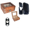 COMBO DELUXE Glass Top Humidor 40 Cigars, Leather Case and Cutter Cigar