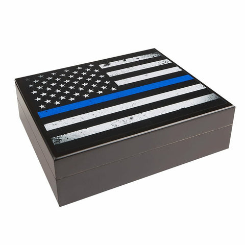Image of NEW Cigar Humidor USA Flag BLUE Print for 20 Cigars