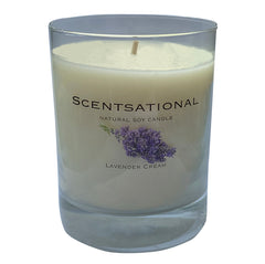 Scented Soy Candles LAVENDER CREAM (11 oz) eliminates smoke, household and pet odors.