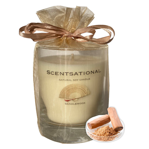 Image of Scented Soy Candles SANDALWOOD (11 oz) eliminates smoke, household and pet odors. - Cigar boulevard