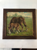 1940s English Oil Painting of Two Horses in Custom Frame