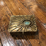 1970s Brutalist Period Brass & Jade Box