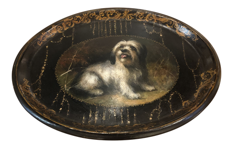 19th Century English Painted Papier Mâché Tray