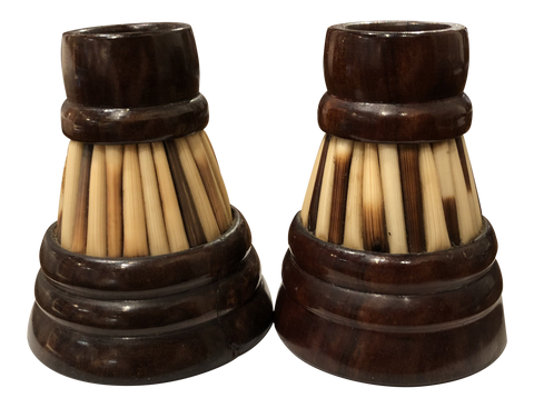 Antique Porcupine Quill Inkwells From Ceylon - a Pair