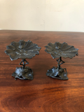 Art Deco Bronzed Lily Pad Stands, a Pair