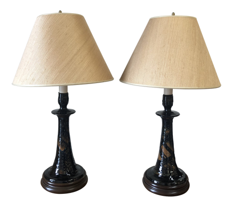 Black and Brown Pottery Lamps With Wood Bases and Rice Shades - a Pair