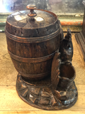 Black Forest Wood Carved Tobacco Jar With Rooster