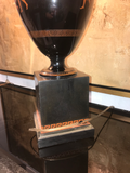 Black Glazed Ceramic Urn Lamps With Amphora and Greek Key Detail